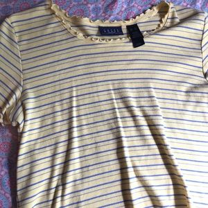 Yellow Lettuce edge striped t-shirt